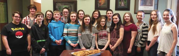 From left, Alex Purdy, Killian Evans, Caleb Clapper, Alyssa Kemp, John Bace, Hannah Lent, Jenna Forsey, Brianna Bace, Morgan Mackey, Brytney Moore, Maddie Downing, Gavin Clute, Grace Forsey, Alyssa Quillan, Nicole Quillan, Haley Monacchio and Isabella Cox. Not pictured: Michael Darling, Brooke Finley and Jane Hoffman. (Photo submitted)