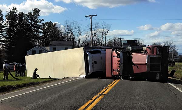 About 4 p.m. Monday, a  tractor-trailer hauling frozen foods overturned  on Route 30A in the town of Glen just south of Sowle truck repairs, at the intersection of Reid Hill Road and 30A. The accident closed the road until about 9 p.m., when crews got the truck back onto its wheels.  Montgomery County Sheriffs and state police  responded as well as the Glen Fire Department and Roosevelts Towing. Further details were  unavailable. (Photo courtesy of Greg Duesler)