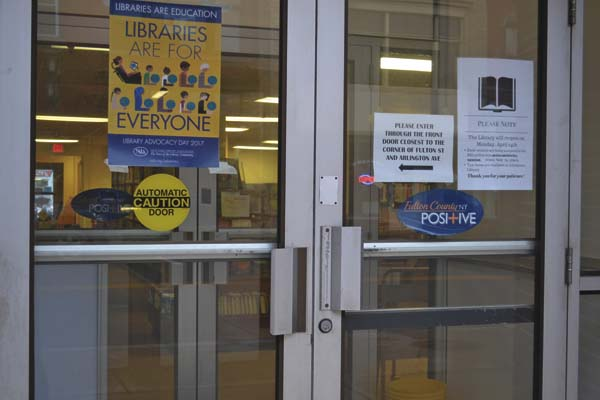 The doors near the new temporary home of the Gloversville Public Library is shown on Friday. (The Leader-Herald/Kerry Minor)