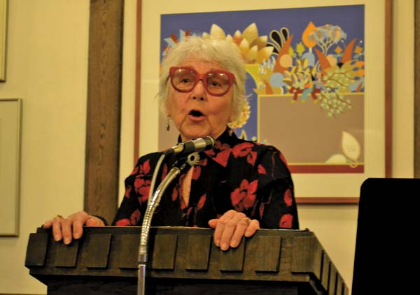 Hedi McKinley, 97, of Altamont speaks about her experiences in Austria under the rule of Adolf Hitler at Knesseth Israel Synagogue on Sunday. McKinley was the main speaker for the annual Yom Hashoah remeberance ceremony. (The Leader-Herald/Kerry Minor)