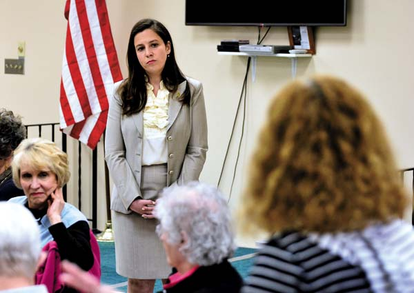 "Congresswoman Elise Stefanik listens as Liz Russo of Johnstown asks a question during ""Coffee with Your Congresswoman"" at the Shirley J. Luck Senior Citizens Center in Johnstown on Monday. Stefanik was in town for the Fulton County Republican Chairman's Club dinner.  (The Leader-Herald/Bill Trojan)"