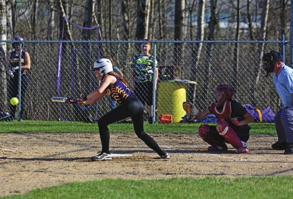 Johnstown's Grace Giarrizzo looks to bunt during Monday's Foothills Council game against South Glens Falls at Johnstown High School. (The Leader-Herald/Bill Trojan)