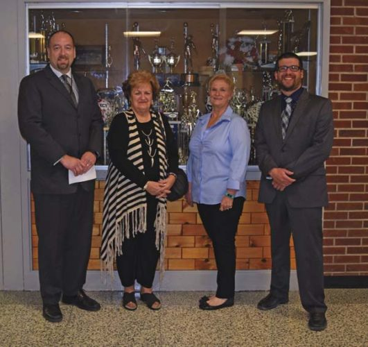Superintendent Thomas Sincavage, Regent Beverly Ouderkirk, board of education vice president Cathie Rust and building superintendent Jeremy Siddon during Ouderkirk's visit to the school Tuesday. (Photo submitted)
