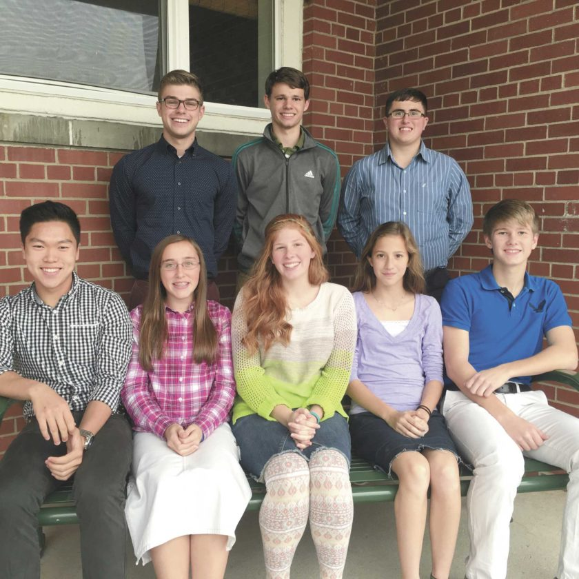 Mifflin County Christian Academy students selected to participate in the All-State Choir are, from left, front, Jathan Gutshall, Ashlyn Ort, Emma Todd, Davi Ort and Cody Wilson; back, Addson North, Luke Todd and Kyle Ort. The students learned and recorded music and sent an audition tape to be judged among students from across the state. After practicing with a guest conductor Thursday and today in Harrisburg, the students will perform at 11 a.m. and 1:30 p.m. on Saturday in the rotunda at the state capitol. The performances are free and open to the public. Audience seating is limited, but there is plenty of standing room.   Submitted photo