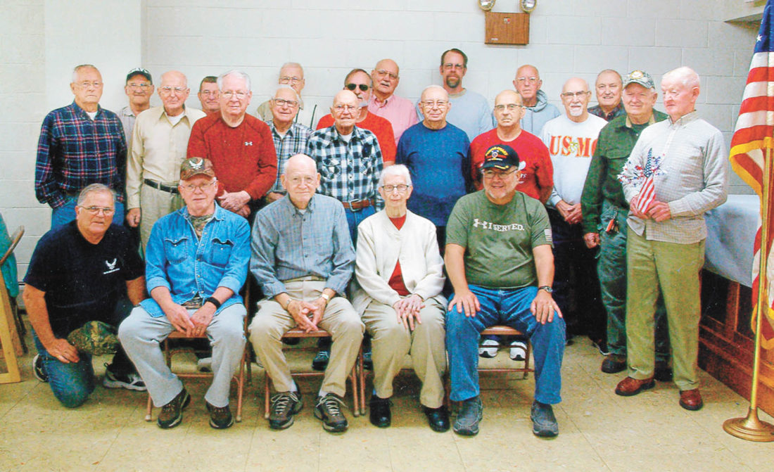 Submitted photo This group of veterans were honored on Nov. 10 at Rhodes Memorial United Methodist Church during a free community Thanksgiving/Veterans Day meal.