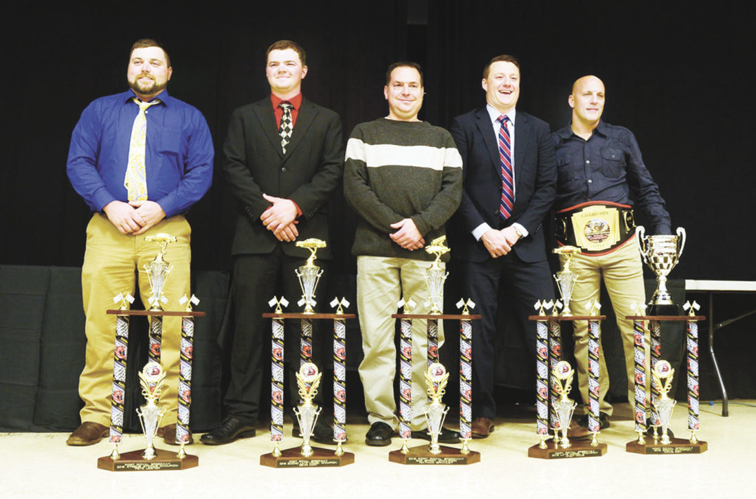Sentinel photo by TIM SHUMAKER Port Royal Speedway honored its 2016 track champions at its annual banquet Saturday at the Port Royal Community Building. Taking top honors were, from left,  Pete Leister, Len Krautheim Auto Sales xtreme stocks; Devin Hart, Gray's Auto & Towing 355 econo late models; Nate Gramley, River Valley Builders 305 sprints; Andy Haus, Aumiller's Insurance super late models; and Doug Esh, Weikert's Livestock 410 sprints.