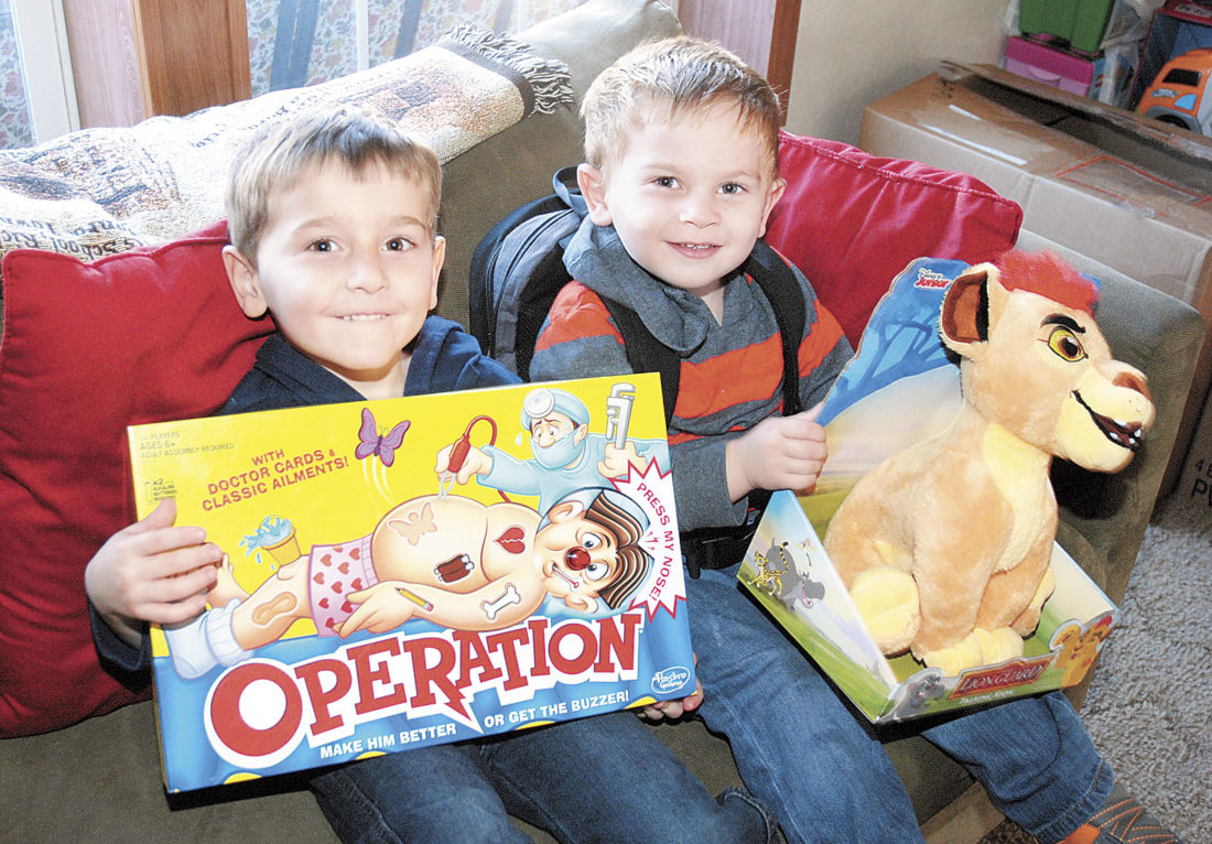 Sentinel photo by BUFFIE BOYER Brothers Noah, left, and Camden Lewis hold some of the items being donated to the Janet Weis Children's Hospital in Danville.