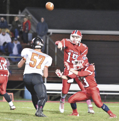 Sentinel file photo Juniata quarterback Tyler Clark (15) was a Tri-Valley League honorable mention for the 2016 season. Clark was one of nine Indians selected to the TVL all-star football team. East Juniata placed three.