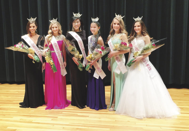 Sentinel photos by KATHRYN DIVIRGILIUS  Winners of the 2017 Miss Central  Pennsylvania Scholarship Pageant and  Outstanding Teen line up on stage. From left, Miss Greater Juniata Valley Holly Harrar, Miss Greater Juniata Valley's Outstanding Teen Abby Traxler, Miss Central Pennsylvania Katie Schreckengast, Miss Central Pennsylvania's Outstanding Teen Avia Weber, Miss Freedom Forge Jennifer Gehman and Miss Freedom Forge's Outstanding Teen Alivia  Jacobs.
