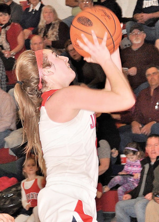 Sentinel photo by BROOKE FOSTER  Juniata's Josie Swartz goes for a layup in the second half of a Tri-Valley tournament game against Line Mountain, Wednesday, in Mifflintown.