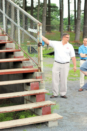 Sentinel file photo  In this 2014 file photo former JCSD Superintendent Richard Musselman  discusses the condition of the grandstands at Dietrick Field with a group of school board members, district administration and the public.