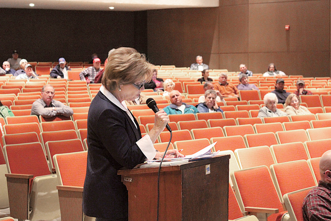 Sentinel photo by JULIANNE CAHILL  Paula Lauver, of Spruce Hill, speaks during the Act 34 Public Hearing for proposed consolidation at Fermanagh-Mifflintown Elementary School, held Wednesday evening at Juniata High School in Mifflintown.