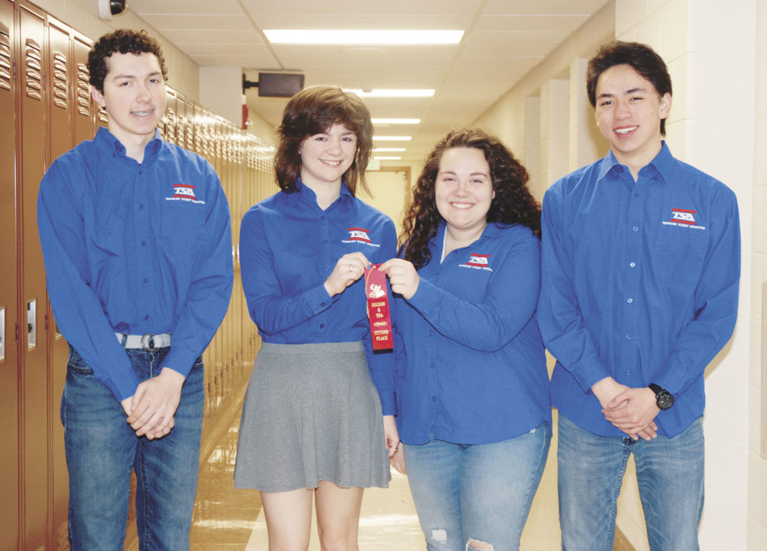 Sentinel photo by BUFFIE BOYER Mifflin County High School second place winners in the Chapter Team event are, from left, Justin Jacobs, Margo Wolfgang, Kylie Wakefield and Ian Shoemaker. Abby Roman-White and Alexander Shoemaker were also on the team.