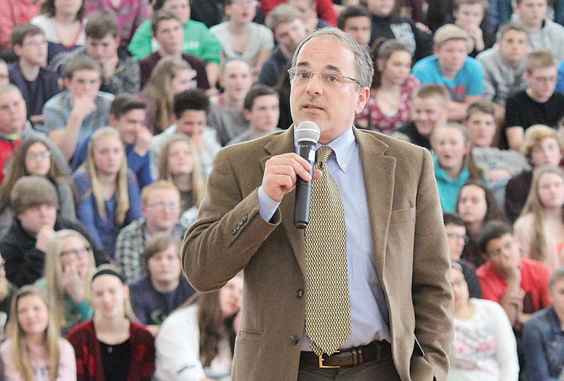 Sentinel photos by JULIANNE CAHILL  District Attorney Christopher Torquato speaks during an assembly, 'Life Behind the Drug: The Truth,' presented Wednesday afternoon at Mifflin County Junior High School in Lewistown.