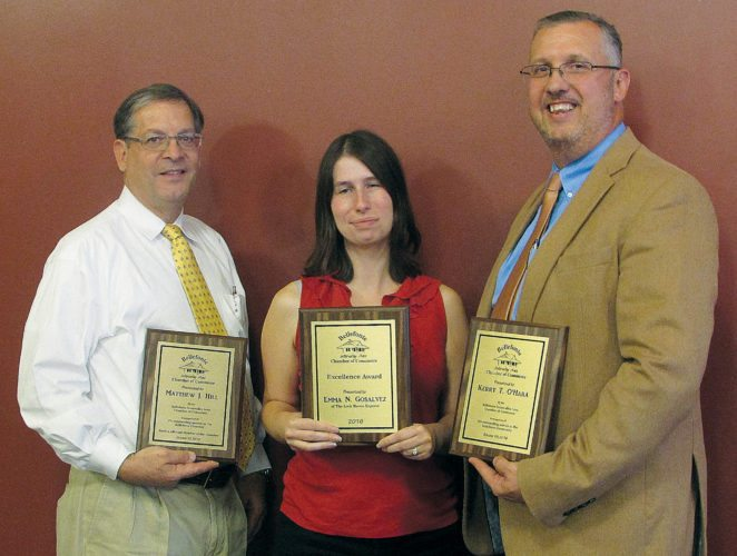 PHOTO PROVIDED Honored at the annual Bellefonte Intervalley Area Chamber of Commerce's annual luncheon were, from left, Matt Hill of Logan Branch Insurance, winner of the Lifetime Member Recognition Award; Emma Gosalvez of The Express, winner of the Excellence Award, and Kerry O'Hara of First National Bank, winner of the Community Service Award, pose for a photo after the annual Chamber luncheon.