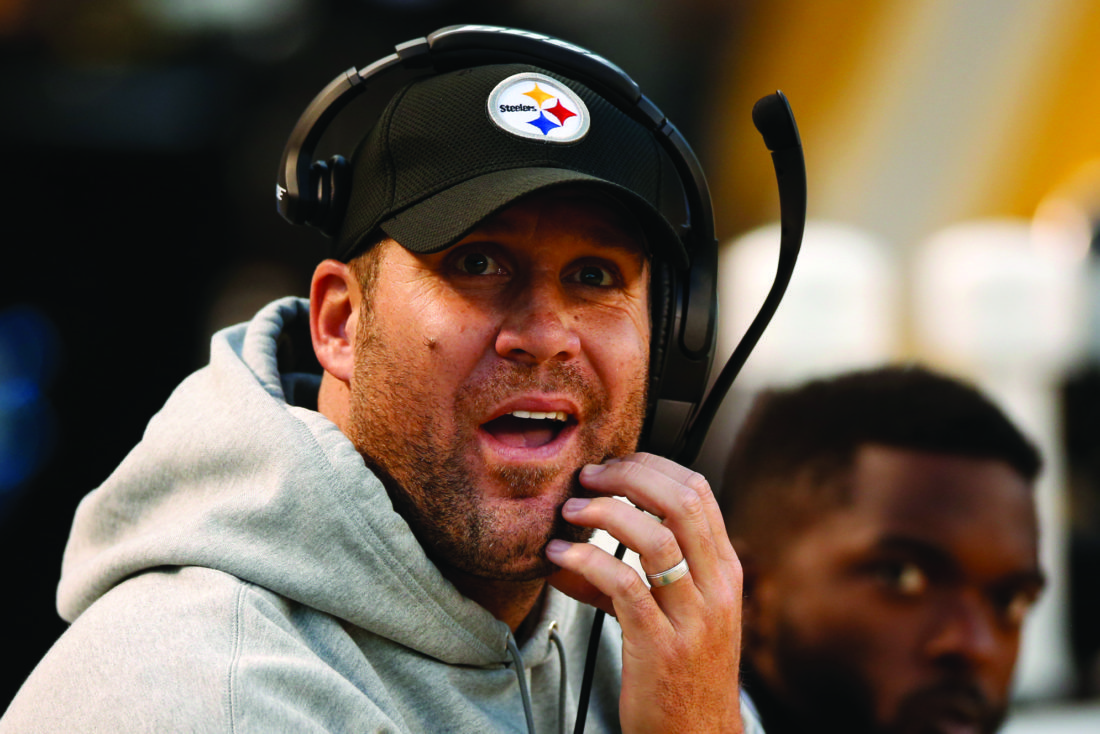 Pittsburgh Steelers quarterback Ben Roethlisberger looks at the scoreboard during  the second half of an NFL football game against the New England Patriots in Pittsburgh, Sunday, Oct. 23, 2016. The Patriots won 27-16. (AP Photo/Jared Wickerham)