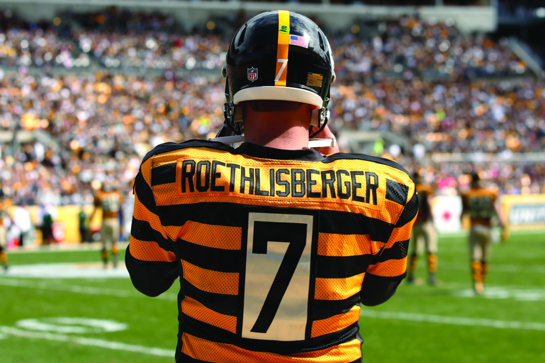 Pittsburgh Steelers quarterback Ben Roethlisberger (7) stands on the sidelines during the first half of an NFL football game against the New York Jets in Pittsburgh, Sunday, Oct. 9, 2016. (AP Photo/Jared Wickerham)