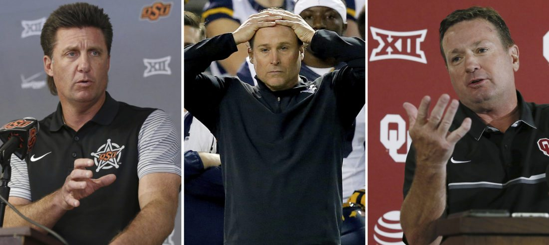 FILE - At left, in an Oct. 17, 2016, file photo, Oklahoma State head coach Mike Gundy speaks during an NCAA college football news conference in Stillwater, Okla. At center, in a Jan. 2, 2016, file photo, West Virginia coach Dana Holgorsen watches during the first half of the Cactus Bowl NCAA college football game against Arizona State, in Phoenix. At right, in an Aug. 29, 2016, file photo, Oklahoma head coach Bob Stoops answers a question during an NCAA college football news conference in Norman, Okla. The Big 12 Conference is going into November without a top-10 team in the AP poll for the first time in the league's 20-year history. And the playoff hopes are pretty much done too after Baylor and West Virginia both lost. (AP Photo/File)