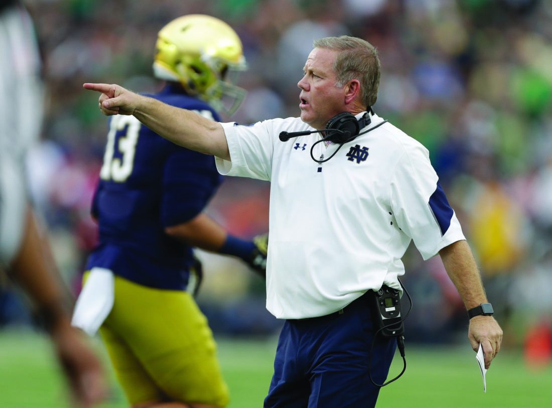 Notre Dame head coach Brain Kelly in action during the first half of an NCAA college football game against Miami, Saturday, Oct. 29, 2016, in South Bend, Ind.   (AP Photo/Darron Cummings)