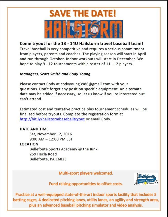 Flier for 13-14U Hailstorm team.