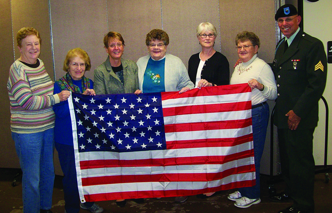 PHOTO PROVIDED The Ladies Order of Hibernians members in Lock Haven include, from left, Jeanne Mullen, Rita Stabley, President Dawn Stabley, Judy Brady, Mary Margaret Winton and Martha Motel. Their guest speaker on Oct. 17 was Sgt. Terry Banfill, far right.
