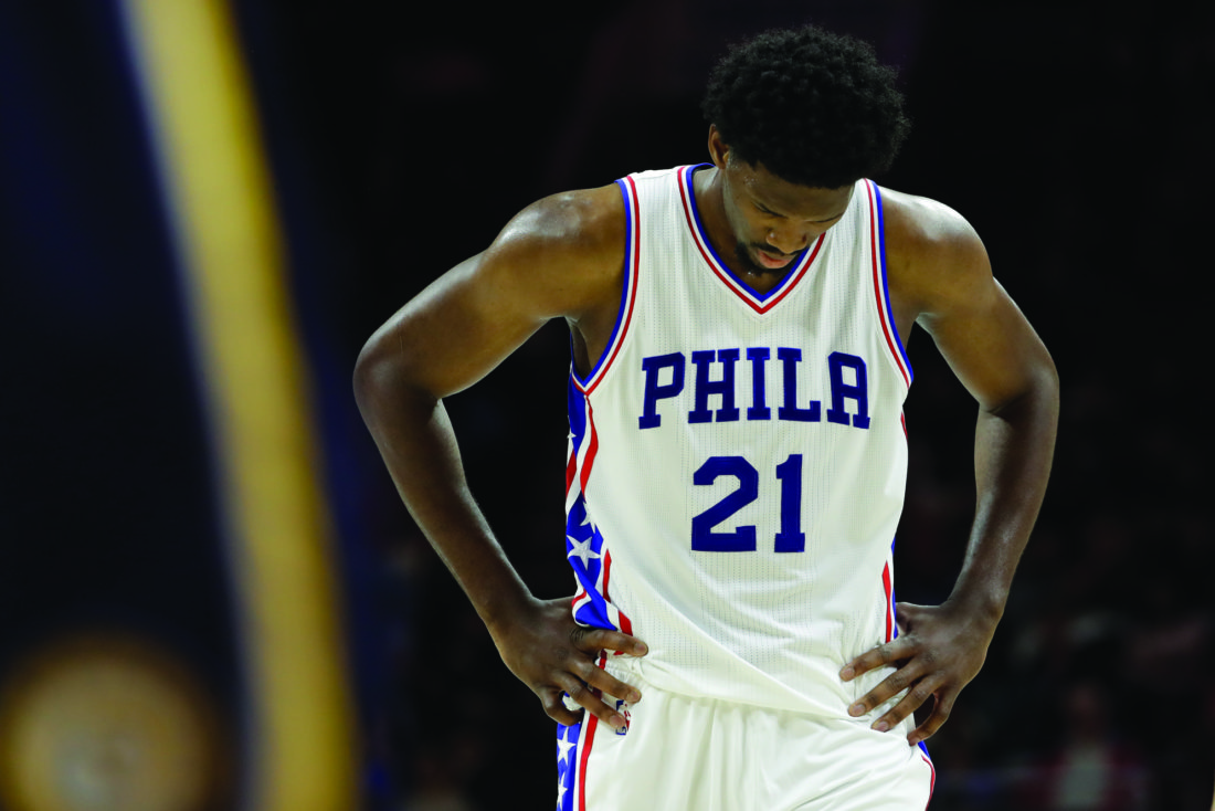 Philadelphia 76ers' Joel Embiid in action during an NBA basketball game against the Indiana Pacers, Friday, Nov. 11, 2016, in Philadelphia. (AP Photo/Matt Slocum)