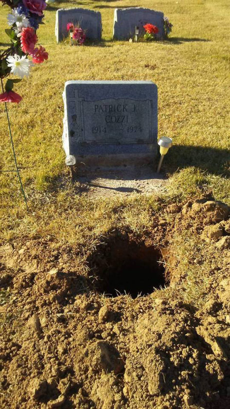 PHOTO FROM LOCK HAVEN CITY POLICE This photo shows the grave site of Raymond D. Cozzi. A hole was left when his remains were stolen.