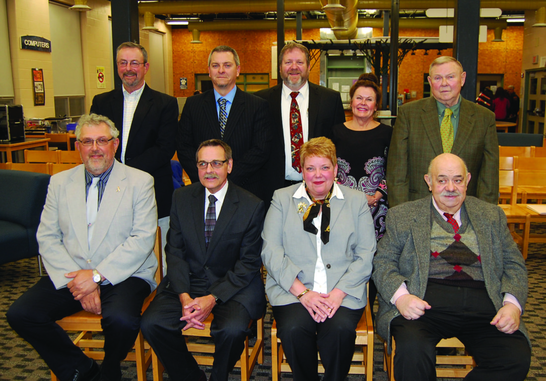 JIM RUNKLE/THE EXPRESS The Keystone Central School Board members who reorganized for the year Thursday evening include, back row, from left, Charles Rosamilia, Gregory Strouse, Robert Elling, Deb Smith and Thomas Shafer; front row, James Knauff, Jeff Johnston, Superintendent Kelly Hastings and Wayne Koch. Board member Albert Jones was unable to attend the meeting.