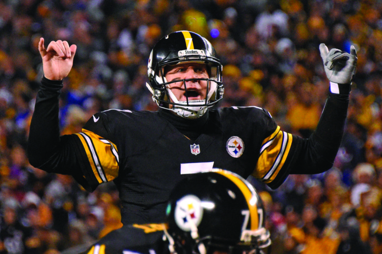 Pittsburgh Steelers quarterback Ben Roethlisberger (7) calls a play at the line of scrimmage during the first half of an NFL football game against the New York Giants in Pittsburgh, Sunday, Dec. 4, 2016. (AP Photo/Don Wright)