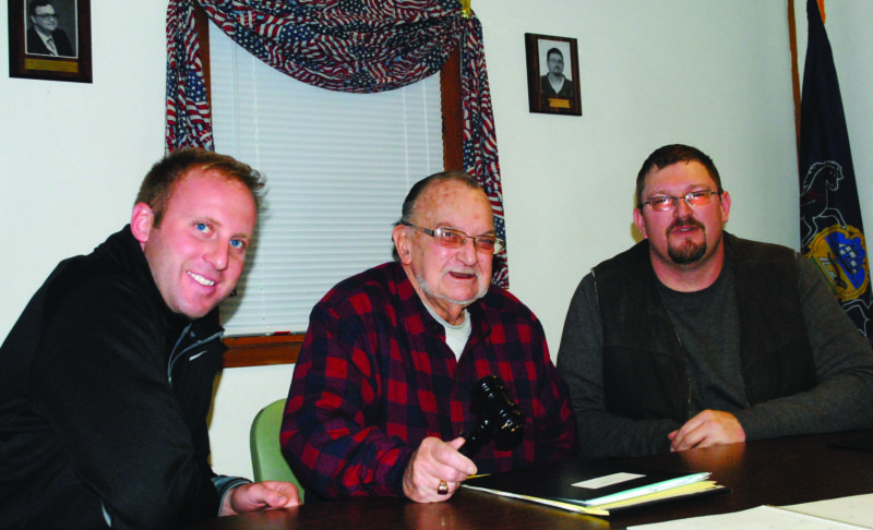 WENDY STIVER/THE EXPRESS The Woodward Township supervisors unanimously re-elected Clyde Glossner, center, as supervisor board chair and Brian J. Hoy, right, as vice chair when they reorganized Tuesday evening for 2017.
