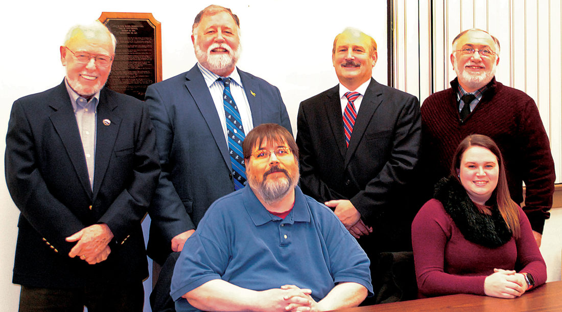 WENDY STIVER/THE EXPRESS Lock Haven City Council organized for 2017, with the members keeping their same duties from 2016. They are, from left, seated: Jonathan Bravard and Sara Stringfellow; and standing: Ted Forbes, Council Vice President Stephen L. Stevenson, Mayor William E. Baney III and Richard L. Conklin. Missing is Councilman Douglas T. Byerly.