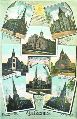 PHOTO PROVIDED Shown is an old postcard that is featured on the back of the historical brochure, showcasing Bellefonte's eight 19th-century churches.