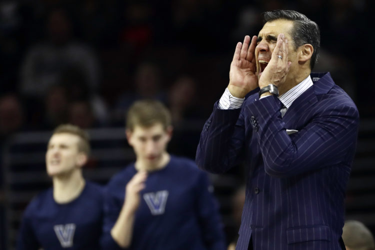 Villanova head coach Jay Wright yells to his team during the first half of an NCAA college basketball game against Marquette, Saturday, Jan. 7, 2017, in Philadelphia. (AP Photo/Matt Slocum)