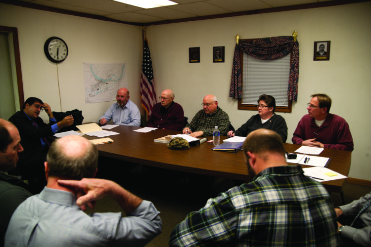 The Woodward Township Zoning Hearing Board members are, behind the table from left, David Coleman, Edward J. Cox, Terry V. Shultz, Brenda F. Dunlap, and Jeffrey J. Raymond who is board chair. At left in front of the table is Frank S. Miceli, the board's solicitor.