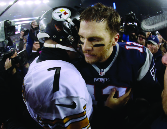Pittsburgh Steelers quarterback Ben Roethlisberger (7) talks to New England Patriots quarterback Tom Brady (12) after the AFC championship NFL football game, Sunday, Jan. 22, 2017, in Foxborough, Mass. The Patriots won 36-17 to advance to the Super Bowl. (AP Photo/Matt Slocum)