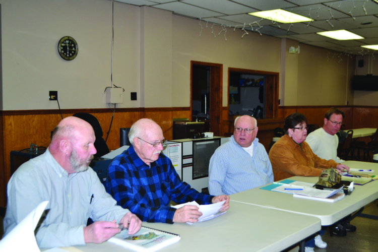The Woodward Township Zoning Hearing Board held a three-hour session Thursday on the drug and alcohol rehab center proposed by Dr. Robert Wise II off the Coudersport Pike. Board members are, from left, David Coleman, Edward J. Cox, Terry V. Shultz, Brenda F. Dunlap and Jeffrey J. Raymond.