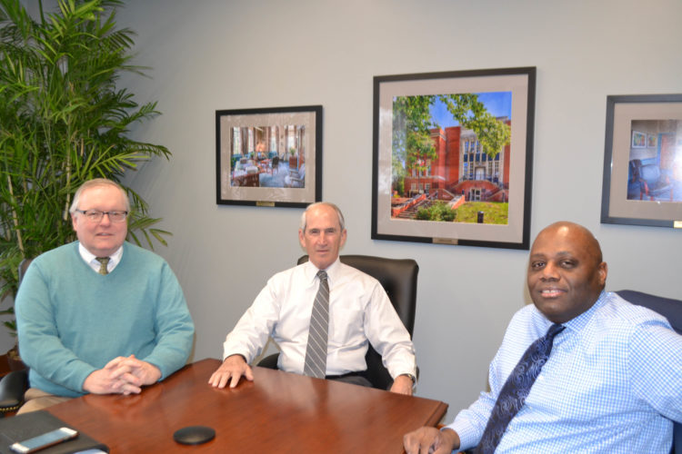 WENDY STIVER/THE EXPRESS Dr. Michael Fiorentino Jr., center, president of Lock Haven University, is seen with William T. Hanelly, left, vice president for finance and administration, and Rodney Jenkins, vice president for university relations.