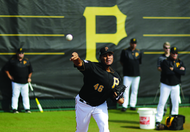 Pittsburgh Pirates pitcher Ivan Nova throws during a workout at baseball spring training in Bradenton, Fla., Tuesday, Feb. 14, 2017. (AP Photo/David Goldman)