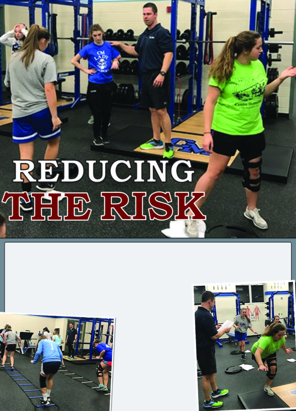 Above, Rob Oshinskie, owner of Victory Sports & Fitness, trains CMHS soccer players, from left, Alyssa Dickie, Karissa Lukas and Kathryn Myers. At left, CMHS soccer players learn training techniques. At right, soccer team members Alyssa Dickie and Kathryn Myers work on balance under the supervision of Oshinskie.   PHOTOS PROVIDED