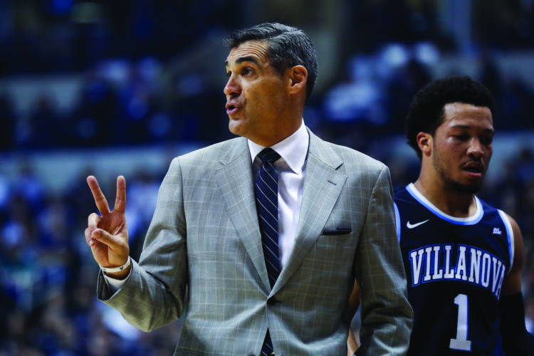 Villanova head coach Jay Wright directs his players from the bench in the first half of an NCAA college basketball game against Xavier, Saturday, Feb. 11, 2017, in Cincinnati. Villanova won 73-57. (AP Photo/John Minchillo)