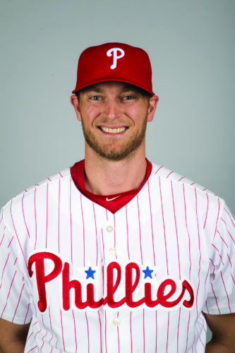 This is a 2017 photo of Michael Saunders of the Philadelphia Phillies. This image represents the the Phillies active roster on Monday, Feb. 20, 2017, in Clearwater, Fla. (AP Photo/Matt Rourke)