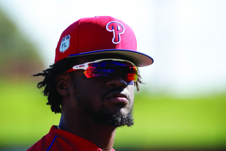 Philadelphia Phillies' Odubel Herrera looks over the field during a spring training baseball workout Thursday, Feb. 16, 2017, in Clearwater, Fla. (AP Photo/Matt Rourke)