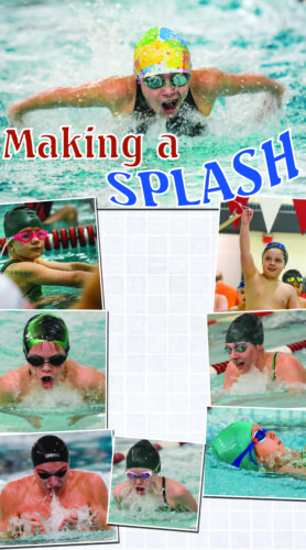 BILL CROWELL/FOR THE EXPRESS At top, Camryn Bair, butterfly. At top left, Elliot Rinehart. At center left, Johnathon Hughes, breast stroke. Below at left, David Orndorf, breast stroke. At center left, Lily Gugino, breast stroke. At top right, Rhys Swift shows off a heat winner tag. At center right, Eryn Bartlett, breast stroke. Above at right, Gabriella Hosley, back stroke.