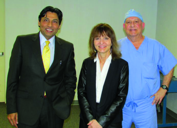 PHOTO PROVIDED From left are Raj Patel, M.D., president of the medical staff, Lock Haven Hospital; Anne Cross, M.D. and George Sadka, M.D., of Susquehanna Eye Associates, following the presentation.