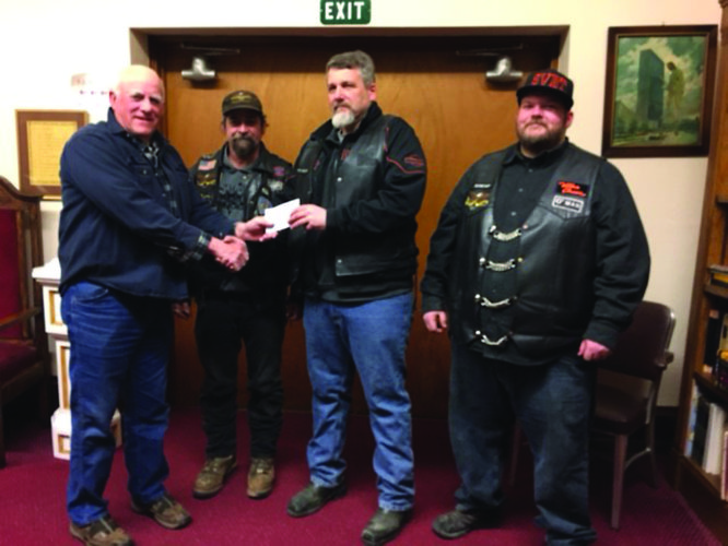 PHOTO PROVIDED The Susquehanna Valley Big Twins Motorcycle Club recently presented the Prayer Shawl Ministry of Bald Eagle United Presbyterian Church with a gift card to purchase yarn. From left are Tom Bossert, James Munro, vice president Perry Killinger and secretary Brad Darby.