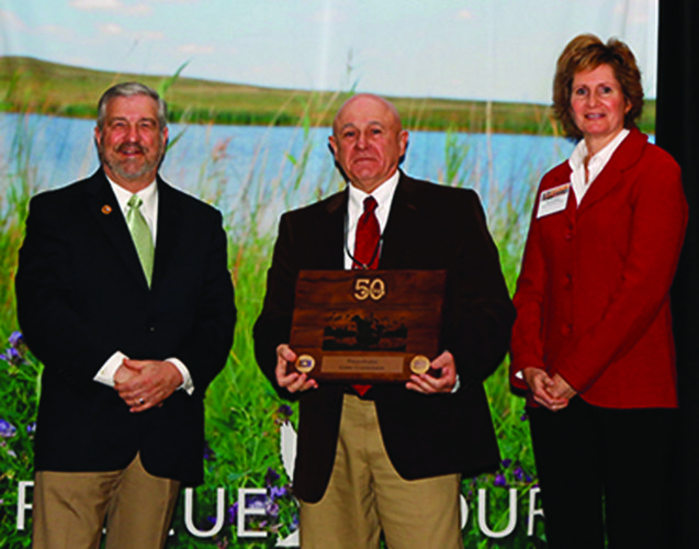 PHOTO PROVIDED From left are Ducks Unlimited CEO Dale Hall, PGC Bureau of Wildlife Management Director Wayne Laroche, Ducks Unlimited Canada CEO Karla Guyn.
