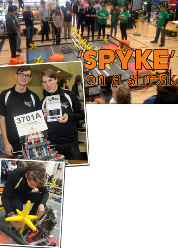 """PHOTOS PROVIDED At top, a robot is operated inside the enclosed arena. Above at left, Nash Berfield and Ryan Stratton are seen with their custom robot. At left, Ryan Stratton makes final inspections of """"Spyke."""""""