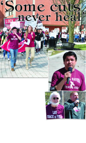 PHIL MAPSTONE/FOR THE EXPRESS Lock Haven University students held a rally yesterday afternoon in support of the men's track and field teams. At right, speakers at the rally included, clockwise from top, alumnus Matt Sauls, student Austin Heimbaugh, and former track and field coach Jim Dolan.