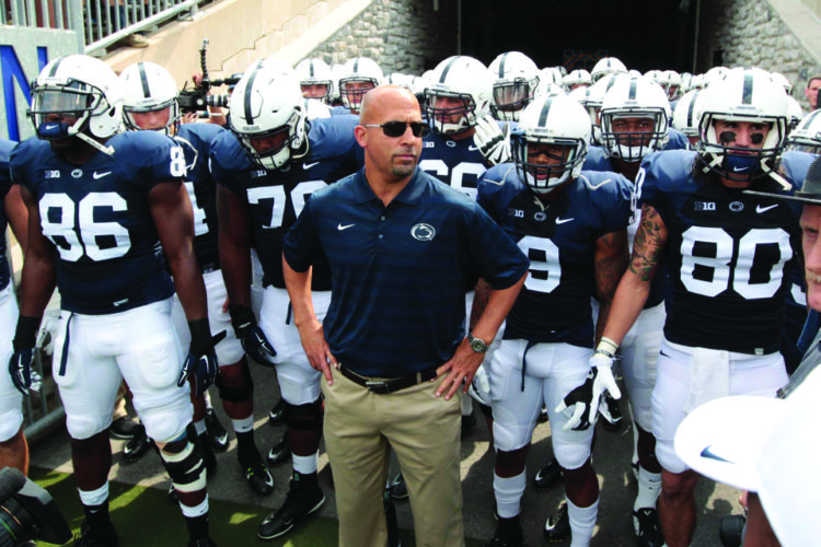 Head coach James Franklin of Penn State University gets ready to take the field with his Nittany Lions. Penn State opened their next chapter yesterday by opening up Spring Practice to get ready for the 2017 football season. (Photo courtesy of The Odyssey)