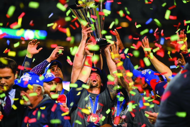 The U.S. team celebrates following an 8-0 win over Puerto Rico in the final of the World Baseball Classic in Los Angeles, Wednesday, March 22, 2017. (AP Photo/Mark J. Terrill)
